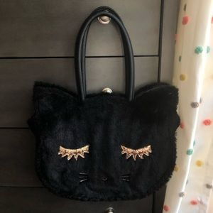 betsey johnson faux fur cat purse